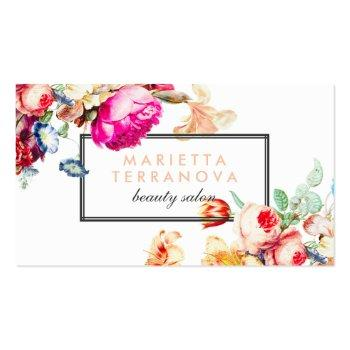 Small Elegant Vintage Chic Floral Striped Beauty Salon Business Card Front View