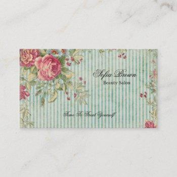 elegant vintage chic pink floral stripes beauty business card