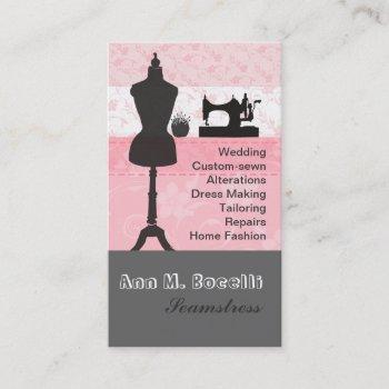 elegant vintage fashion girly pink floral sewing business card