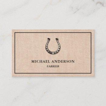 elegant vintage rustic burlap horseshoe farrier business card