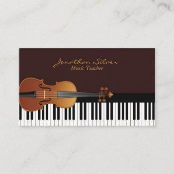 elegant violin and piano key music teacher business card