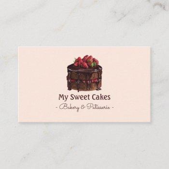 elegant watercolor chocolate cake  dessert business card