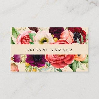 elegant watercolor floral champagne business card