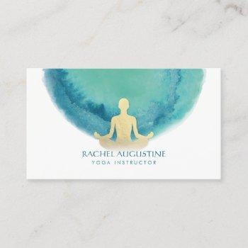 elegant watercolor gold meditation yoga instructor business card