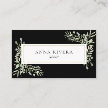 elegant watercolor greenery leaves business card