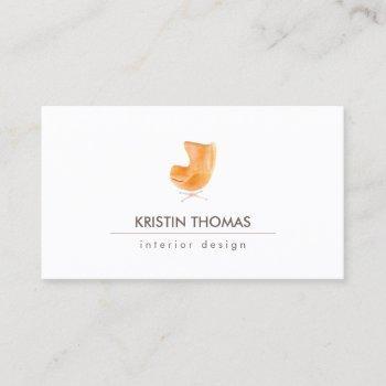 elegant watercolor leather chair interior designer business card