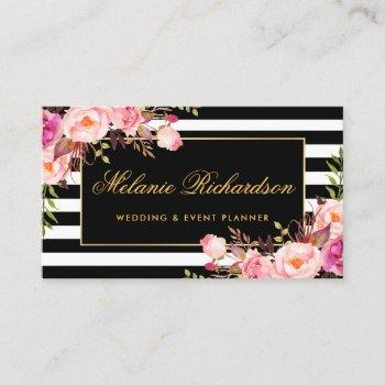 elegant watercolor pink floral gold black striped business card