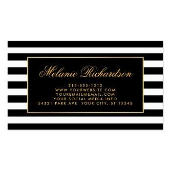 Small Elegant Watercolor Pink Floral Gold Black Striped Business Card Back View
