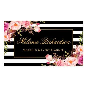 Small Elegant Watercolor Pink Floral Gold Black Striped Business Card Front View