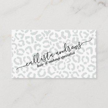 elegant white gray leopard cheetah animal print business card