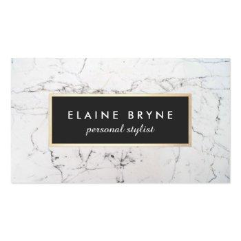 Small Elegant White Marble Makeup Artist Beauty Business Card Front View