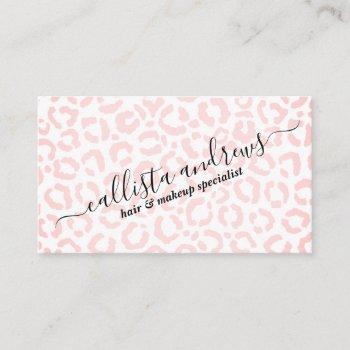 elegant white pink leopard cheetah animal print business card
