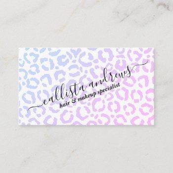 elegant white purple leopard cheetah animal print  business card