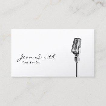 elegant white singer music voice teacher business card