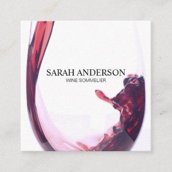 elegant wine pour square business card