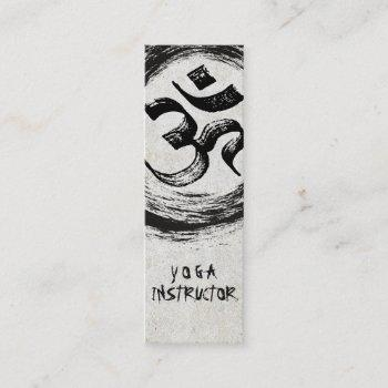 elegant yoga instructor calligraphy zen om symbol mini business card