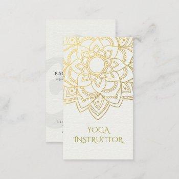 elegant yoga instructor white gold floral mandala business card