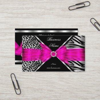 elegant zebra leopard black hot pink 2 business card