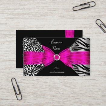 elegant zebra leopard black hot pink business card
