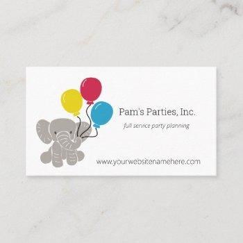 elephant with balloons kids parties business cards