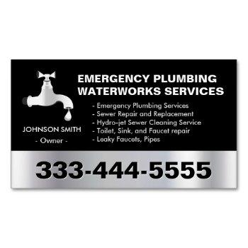 emergency plumbing waterworks service black metal business card magnet