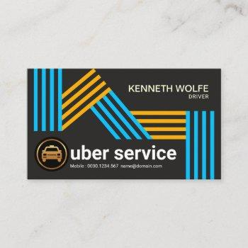 energetic stripes colorful taxi highway route business card