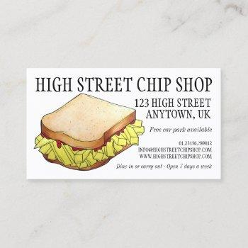 english chip shop butty sandwich takeaway uk food business card