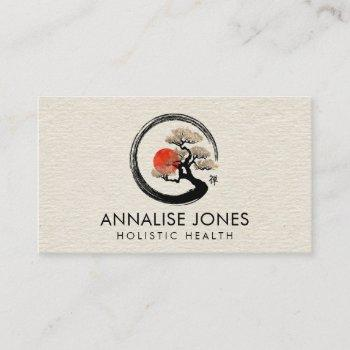 enso circle and bonsai tree on canvas business card
