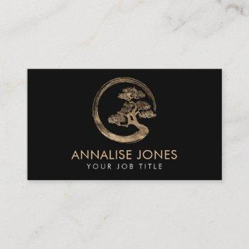 enso zen circle and bonsai tree  gold on black business card