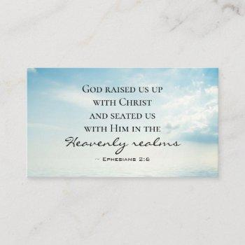ephesians 2:6 god raised us up with christ, bible business card