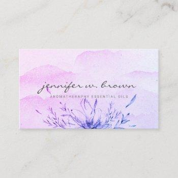 essential oils purple watercolor business card