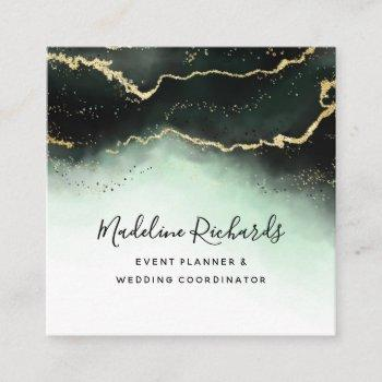 ethereal mist ombre emerald green watercolor moody square business card