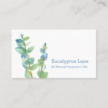 eucalyptus plant botanical watercolor business card
