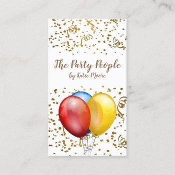 event planner balloons confetti business card