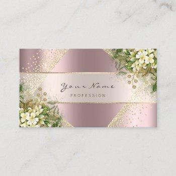 event planner beauty blogger rose gold floral business card