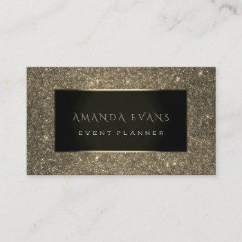 event planner black frame glitter gold spark sepia business card