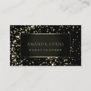 event planner  black frame stars gold sparkl sepia business card