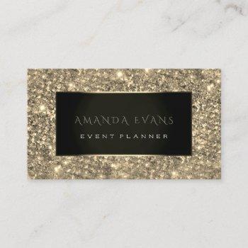 event planner  black framed golden spark sepia business card