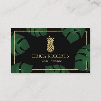 event planner modern gold pineapple business card