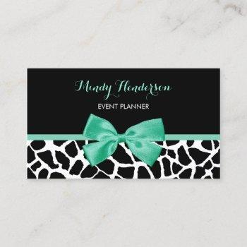 event planner pretty giraffe print mint green bow business card