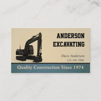 excavator construction business card