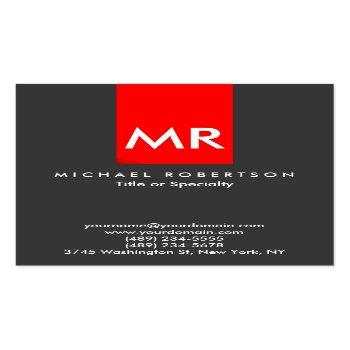 Small Exclusive Monogram Grey Red Stripe Clean Business Card Front View