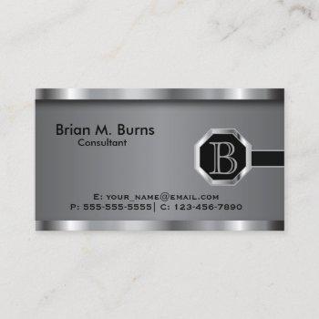 executive black steel chrome monogram business card