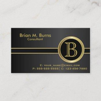 executive classic black monogram business card