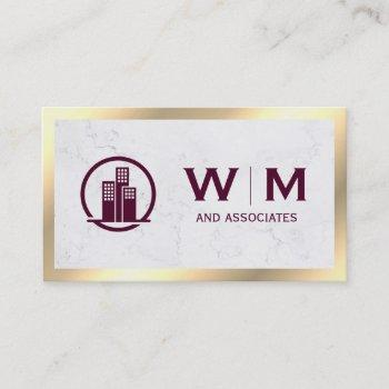 executive gold classic monogram | corporate business card