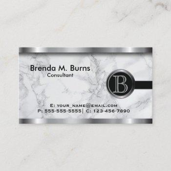 executive gray marble monogram business card