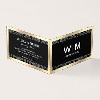 executive monogram gold border damask business card