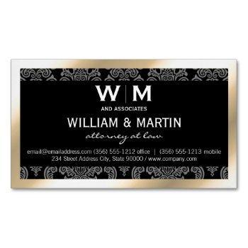executive monogram gold border damask business card magnet