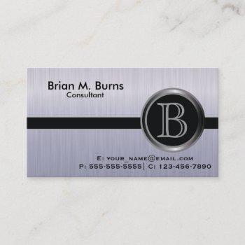 executive tanzanite brush steelmonogram business card