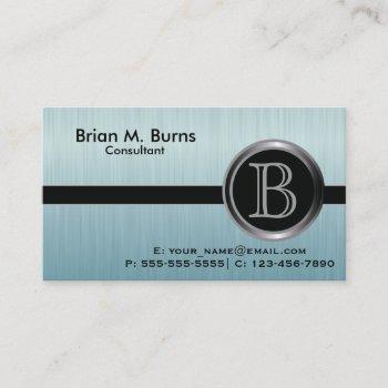 executive turquoise brush steel monogram business card